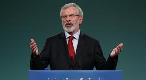 Gerry Adams addresses the Sinn Fein Ard Fheis in the RDS, Dublin