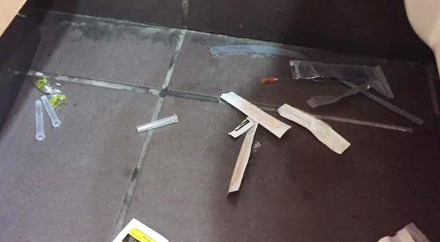Drugs paraphernalia discarded on the floor of toilets at CastleCourt Shopping Centre in Belfast