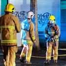 Firefighters at the scene of a fire in Donegall Street in Belfast city centre last night