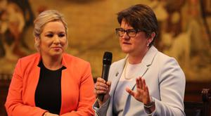 Michelle O'Neill and Arlene Foster attended separate meetings with Theresa May on Tuesday