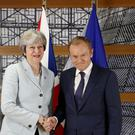 Prime Minister held talks in Brussels with key players including European Council president Donald Tusk (Christian Hartmann, Pool Photo via AP)