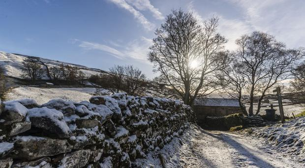 A snowy scene near Tam Hill in the Yorkshire Dales National Park, as the cold and wintry weather looks set to continue on Sunday
