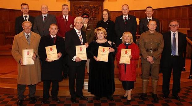 The publication of the UVF Hospital Christmas Book 1915 was launched by Her Majesty's Lord Lieutenant for the County Borough Belfast, Mrs Finnouala Jay-O'Boyle. A special guest was UTV's Paul Clark and the Master of Ceremonies for the evening was Mr William Humphrey MLA