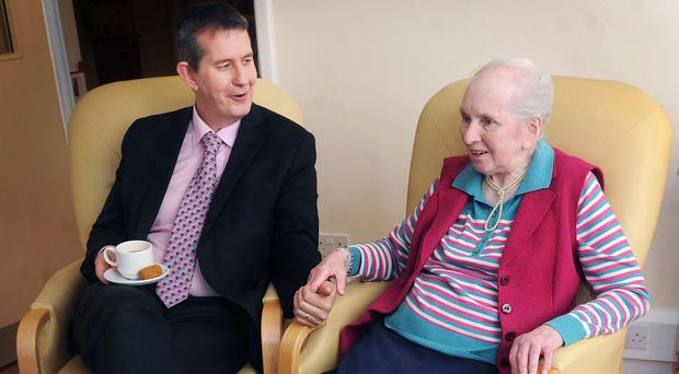 Jean Faulkner at Westland Care Home in Cookstown with then Health Minister Edwin Poots