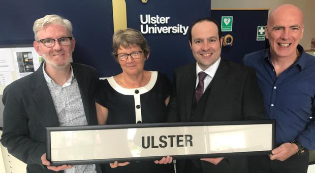 Ulster University's triumphant University Challenge team (from left) Cathal McDaid, Kate Ritchie, Iain Jack and Matt Milliken