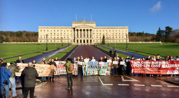 A demonstration outside Stormont to protest against a proposed statute of limitations