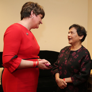 Arlene Foster at the DUP annual conference with Vasundhara Kamble