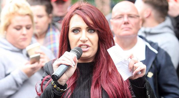 Britain First's deputy leader Jayda Fransen makes the speech at Belfast City Hall that led to her being charged by police
