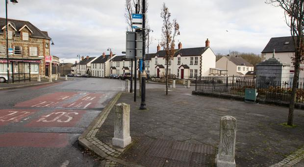 Bessbrook village square where the Christmas tree was vandalised