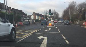 The road marking depicting an arrow was painted on wrong after resurfacing