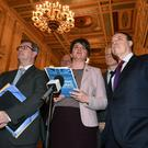 DUP leader Arlene Foster and party colleagues yesterday