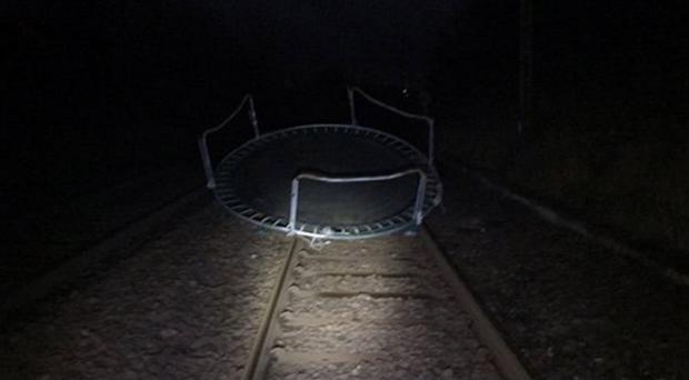 A trampoline on the rail line near Patterton, East Renfrewshire as Storm Caroline brought severe gales (ScotRail/PA)