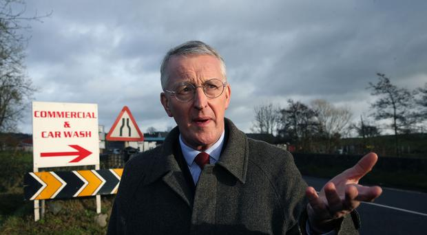 Hilary Benn at the border between Northern Ireland and the Republic of Ireland