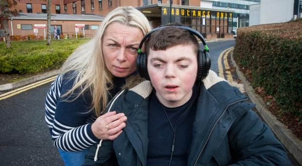 Mother of five Rosie Barrett with her son Tyrone who suffers from a rare disorder, Cornelia de Lange Syndrome
