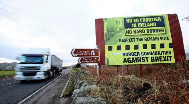 Anti-Brexit sign at the border