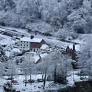 Snow covers Ironbridge in Shropshire, as parts of Britain woke up to a blanket of snow caused by an Arctic airflow in the wake of Storm Caroline