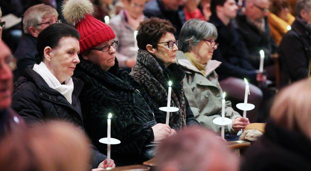 Members of the public at the annual Northern Ireland Hospice carol service at St Anne's Cathedral in Belfast