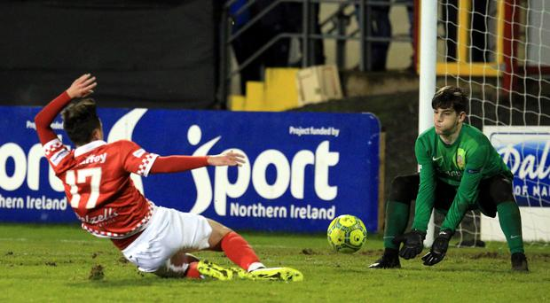 Conner in action for Glenavon on Monday