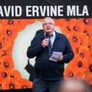 Brian Ervine speaking during a commemoration at the memorial for his brother David