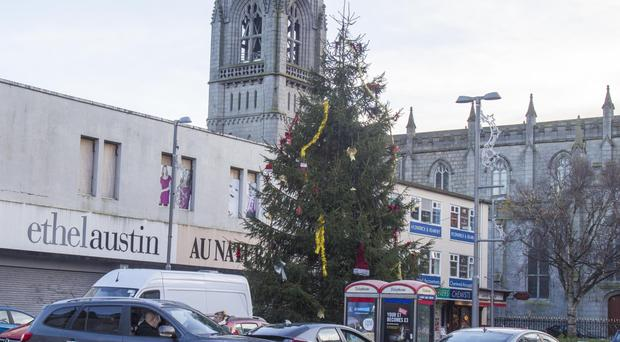 Before the revamp - Newry Christmas tree on Hill Street