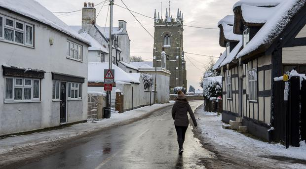 Shawbury, Shropshire, where temperatures fell to -13C (8.6F) on Monday