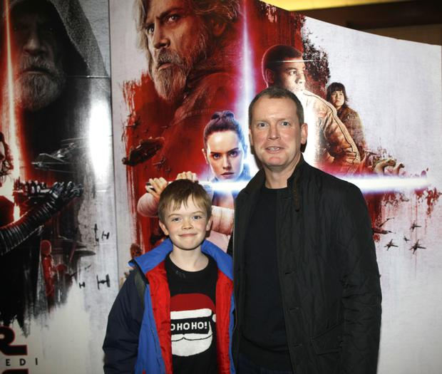 Dr Mark Herron and son Charlie at the new Star Wars film at Movie House on Belfast's Dublin Road