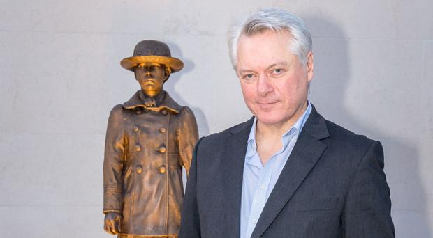Artist Ross Wilson pictured with his sculpture of Amy Carmichael that was unveiled at the weekend at Hamilton Road Presbyterian Church in Bangor