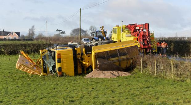 The overturned gritter in Ballynure, Co Antrim