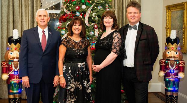 From left: Mike Pence and his wife Karen with Kristyn Getty and Keith Getty