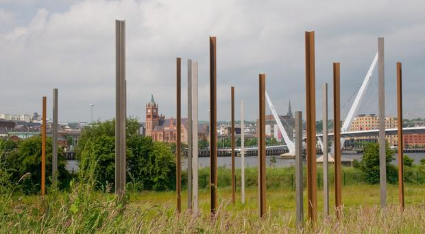 The steel columns of the public art installation