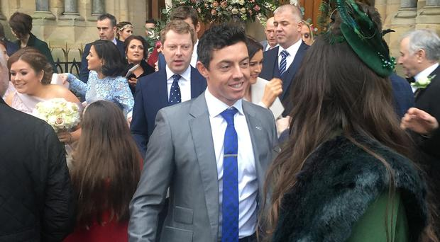 Rory McIlroy at the wedding in St Michael's Church, Enniskillen yesterday