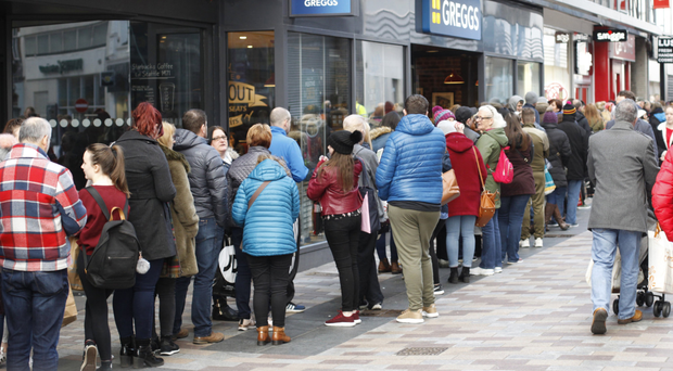 A large queue for Lush yesterday