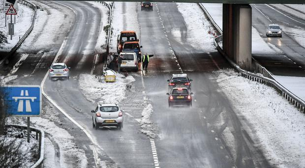 A man warned motorists to pass slowly following an incident on the A417 between Gloucester and Cheltenham after overnight snow caused travel disruption