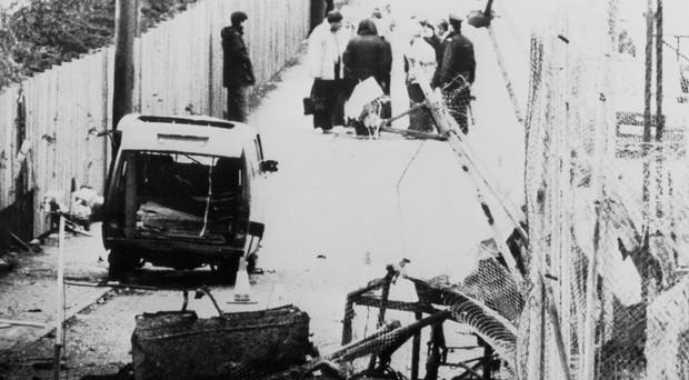 The scene in May 1987 following an attack on Loughgall RUC station, Co Armagh, during which eight IRA members were killed in an SAS ambush