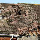 Damage to the roof of a house in East Boldre, Hampshire, after strong winds on Friday