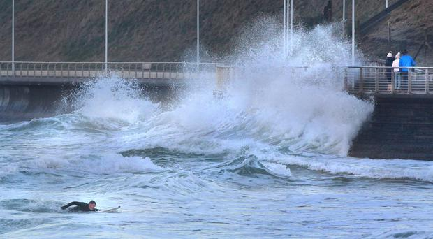 Large waves crash over the promenade in Portrush over the weekend as Storm Dylan hit Northern Ireland