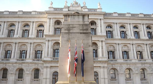 The Cenotaph war memorial in Whitehall, central London