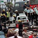 The aftermath of the Omagh bomb explosion in August 1998