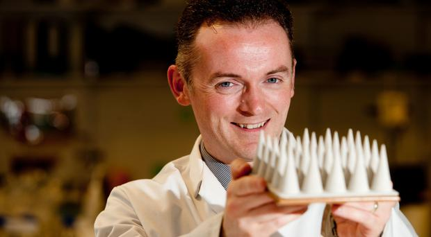 Professor Ryan Donnelly with a magnified prototype of his microneedles