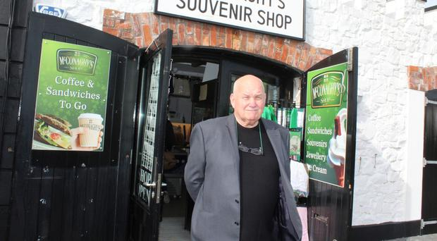 Tommy McConaghy outside his souvenir shop
