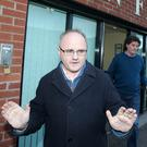 Sinn Fein MP Barry McElduff outside party headquarters in Belfast after his suspension was announced by Michelle O'Neill and Declan Kearney