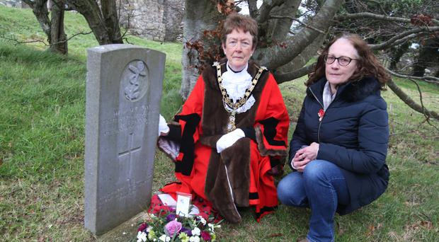 The Mayor of Causeway Coast and Glens Borough Council Joan Baird and Jill Bedingfield, great niece of William Henry McKay, lay a wreath at Bonamargy Abbey in Ballycastle to mark the 100th anniversary of HMS Racoon sinking
