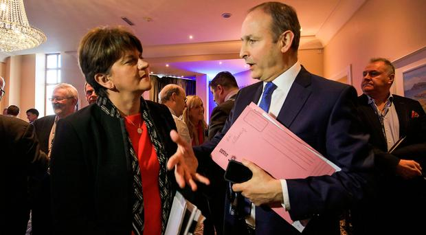 Talking to Fianna Fail leader Micheal Martin during the event