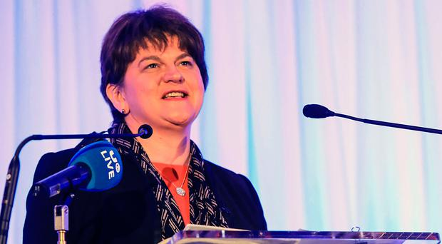 DUP leader Arlene Foster addressing delegates at an economic conference in Killarney