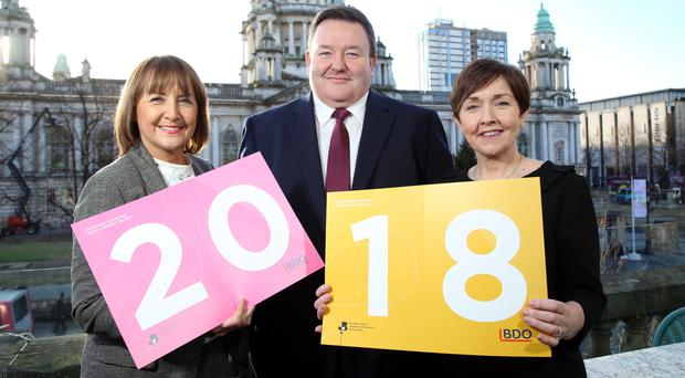 Northern Ireland Chamber chief executive Ann McGregor, BDO Northern Ireland managing partner Brian Murphy and economist Maureen O'Reilly (Press Eye/Darren Kidd/PA)