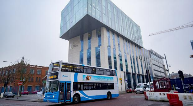 The already completed main building of Ulster University's new campus site in central Belfast