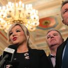 Sinn Fein's Northern Ireland Leader Michelle O'Neill speaking in the Great Hall in Stormont after Northern Ireland Secretary Karen Bradley and Irish foreign affairs minister Simon Coveney announced a fresh round of political talks aimed at restoring powersharing (Brian Lawless/PA)