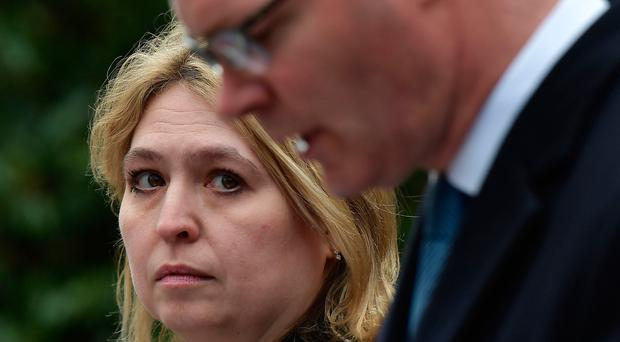 Secretary of State Karen Bradley holds a press conference alongside Simon Coveney, Irish Foreign Affairs Minister, outside Stormont House yesterday