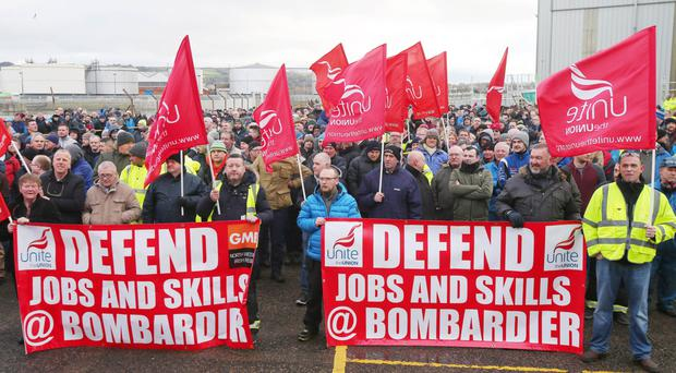 Bombardier workers at the rally in east Belfast