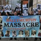 Relatives of those killed in Ballymurphy in 1971, including John Teggart (front centre), whose father Danny was shot dead by soldiers, have campaigned for years for inquests to be held (PA).